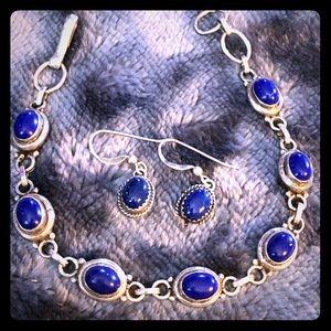 Lapis Lazuli Bracelet and Earrings